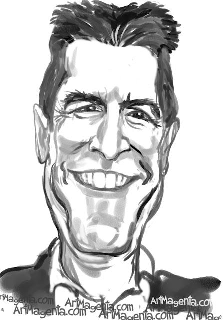 Simon Cowell caricature cartoon. Portrait drawing by caricaturist Artmagenta.