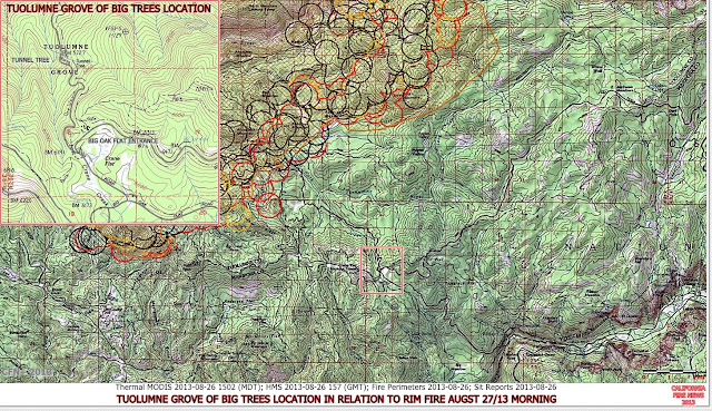 PERIMETER HOT SPOT MAP 8-27-13 MORNING WITH TUOLUMNE GIANT TREES BIG OAK FLAT YNP LOCATION