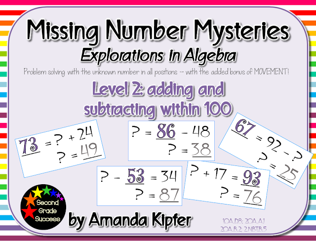 Watch your students enjoy solving for the unknown number in these Missing Number Mysteries! Low prep centers, scoot, or assessment pages help children practice their addition and subtraction facts with two-digit numbers as they work on  and 2.NBT.B.5. Great for second and third graders working on building number sense!  #secondgrade #solvefortheunknown #math #balancedequations #basicfacts #commoncore