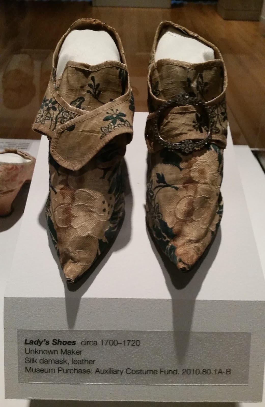 These are silk shoes from the early 1700s. Like other shoes from the ...