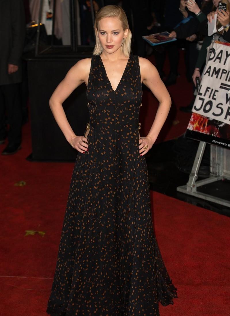 Jennifer Lawrence in Dior at London Premiere of Hunger Games Mockingjay Part 2