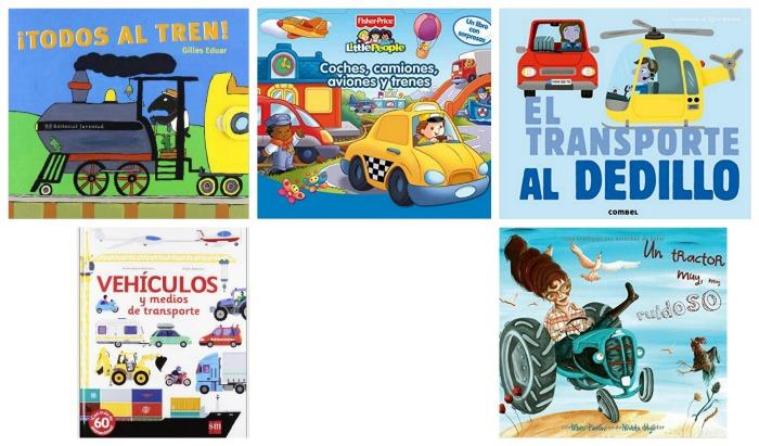 selección libros infantiles y cuentos sobre vehículos y transportes