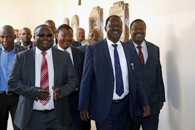 NASA Team led by Raila Odinga after hearing.. PHOTO | FILE