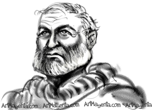 Ernest Hemingway caricature cartoon. Portrait drawing by caricaturist Artmagenta