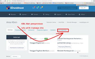 kelola DNS Idwebhost untuk blogspot