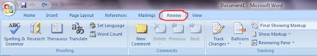 Menu Review Ms. Word