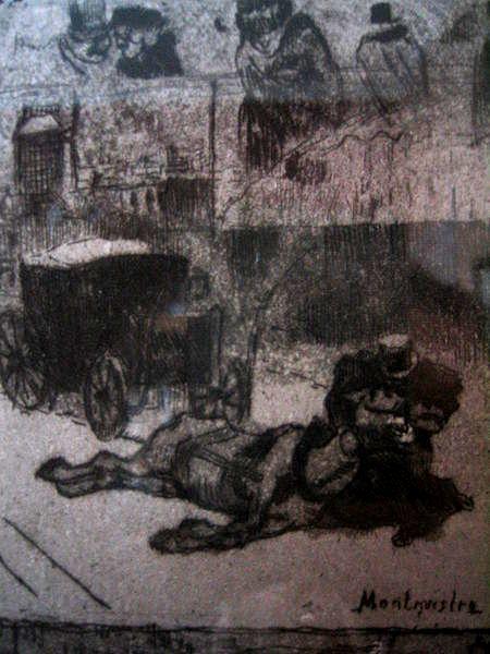 """Félix Buhot, """"Hiver à Paris"""" (Detalle)"""