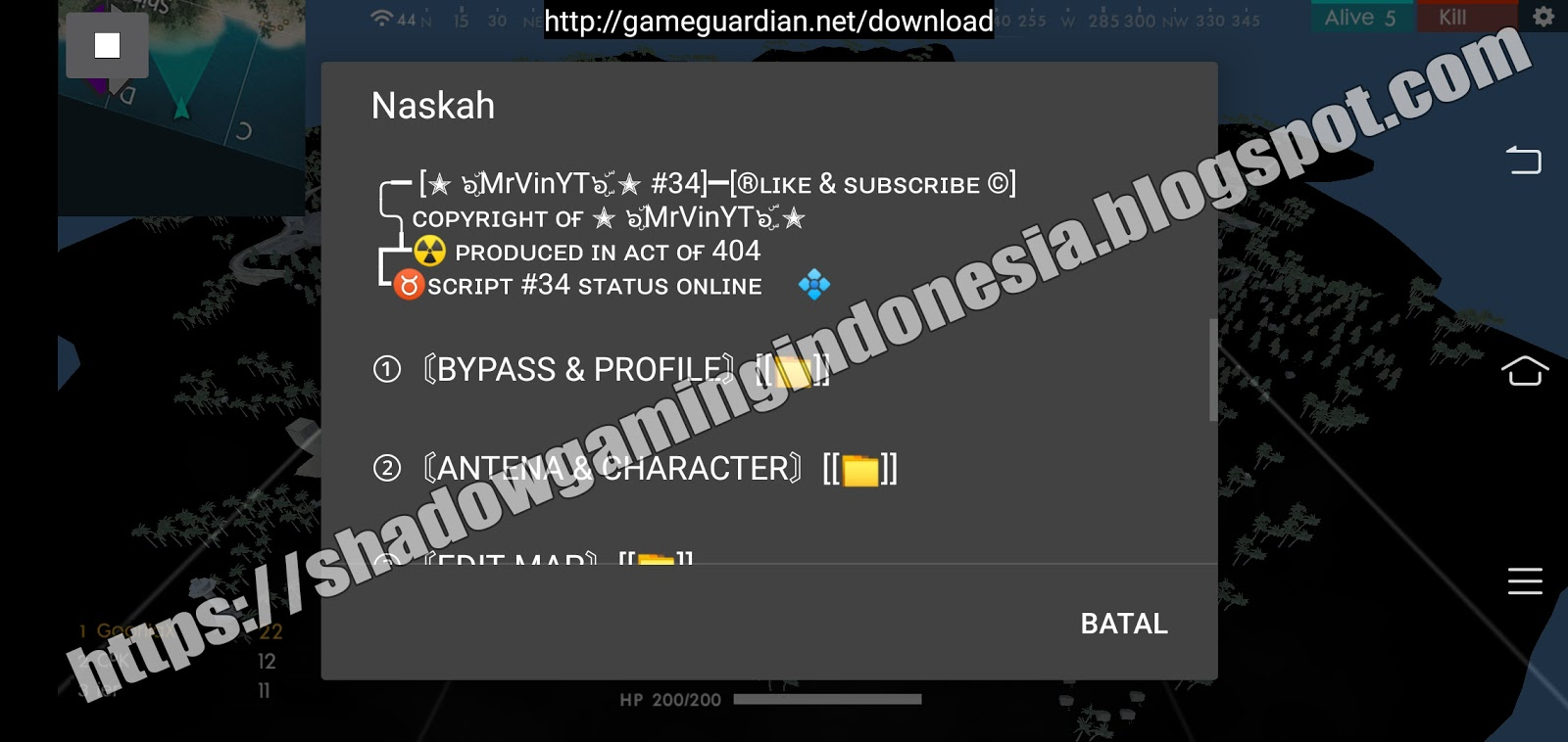 Free Fire Mod No Root & Anti Banned [Script Game Guardian