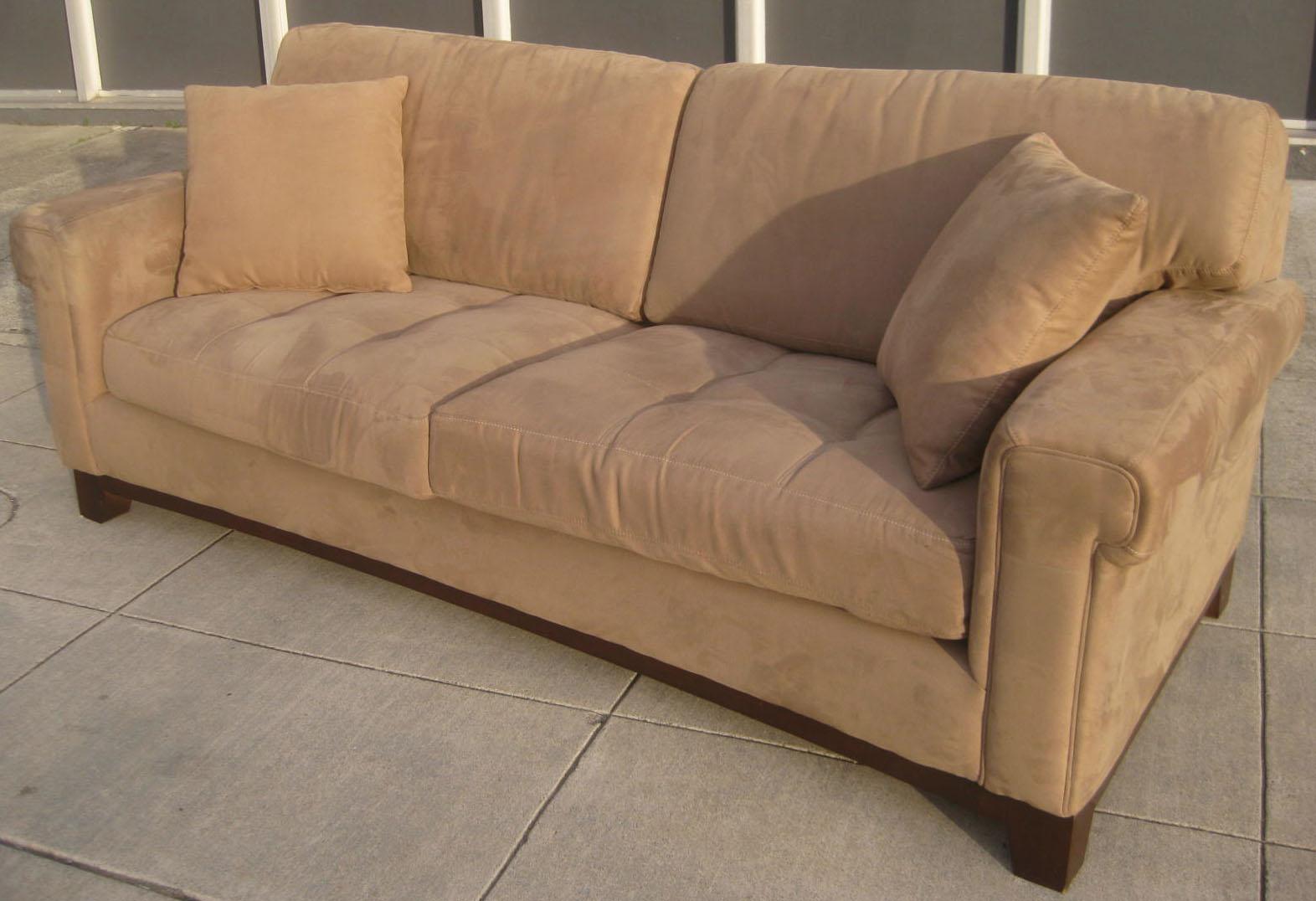 Greatest UHURU FURNITURE & COLLECTIBLES: SOLD - Tan Microsuede Sofa - $210 LG52