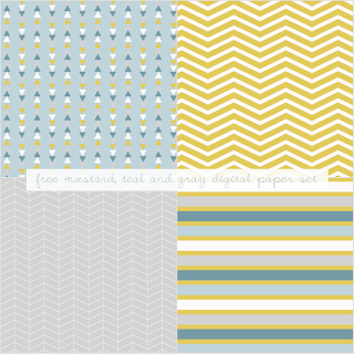 Free Mustard, Teal and Gray Digital Paper