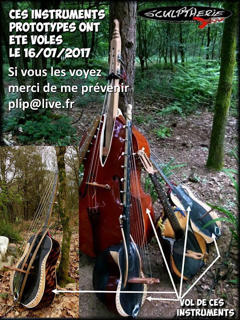 Instruments de musique uniques, volés le 16/07/2017 .