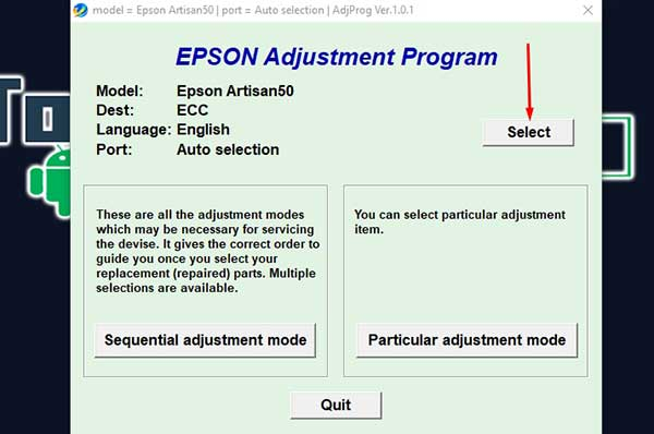 How to reset epson artisan 835