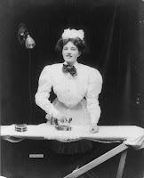 Domestic servant ironing