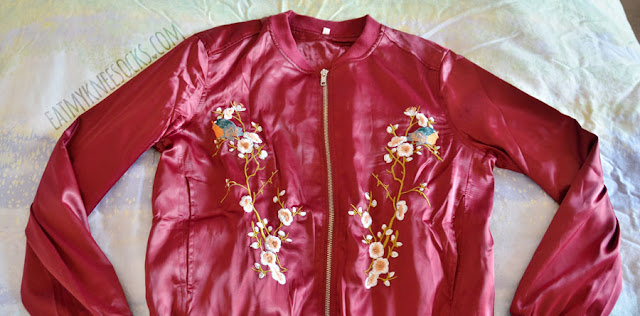 Wine red silky satin floral embroidered oversized bomber jacket from SheIn.