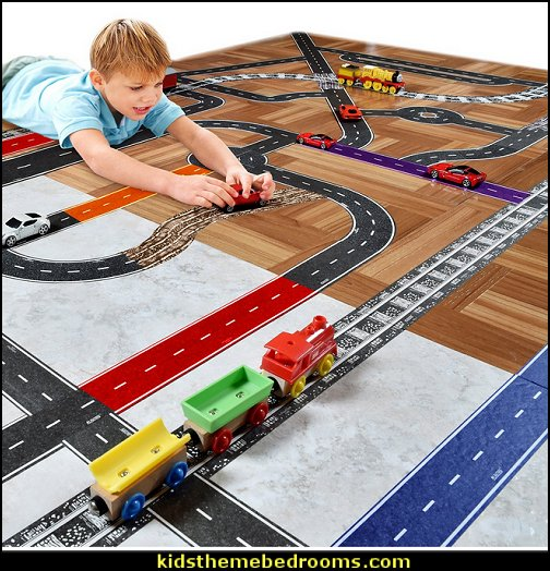 Cars & Trains  PlayTape Classic Road  transportation theme bedroom decorating ideas - Planes, trains, cars and trucks decor - transportation bedroom ideas -  transportation vehicles theme bedrooms - tire throw pillows - cars trucks wall decals - transportation bedding - police cars - polce bedding - heroes bedding