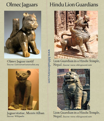 Olmec jaguars perform the same function as the lion guardians of Hindu-Buddhist temples