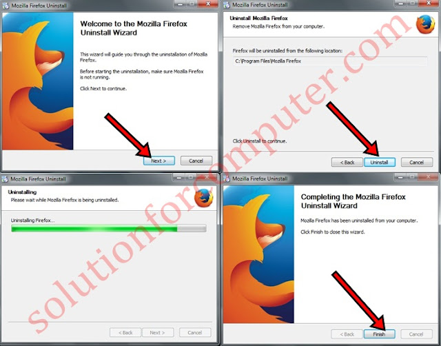 uninstall a Mozilla Firefox all setps