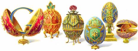 """Doodle Google em Homenagem a Peter Carl Fabergé também conhecido como """"Karl Fabergé Gustavovich""""."""