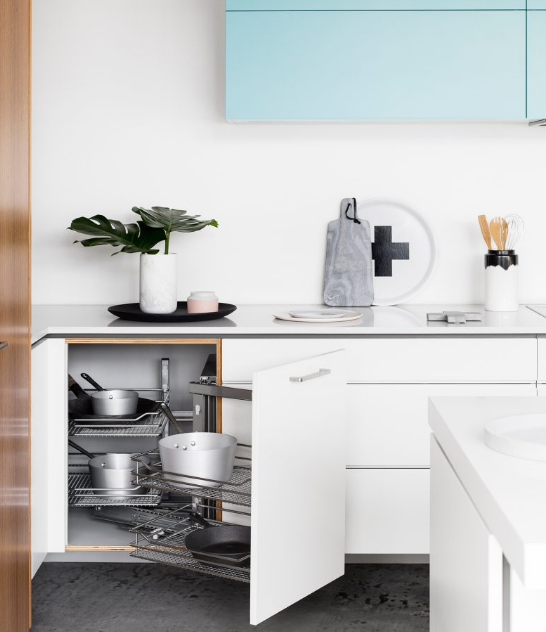 Joinery and cabinets tend to wear neutral colors.