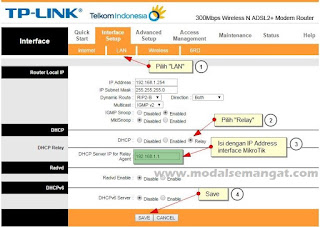 Cara Setting DHCP Relay WiFi / Wireless Modem Speedy ke MikroTik