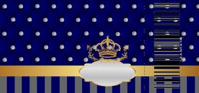 Tarjeta con forma de Ticket de Corona Dorada en Azul y Brillantes.