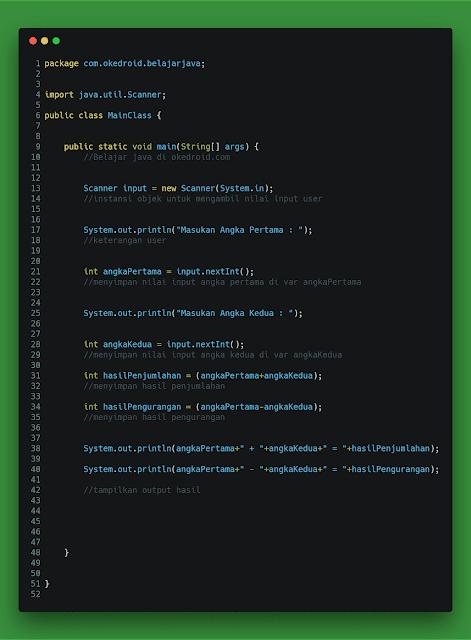 Contoh Code Menghitung Penjumlahan dan Pengurangan di Program Java