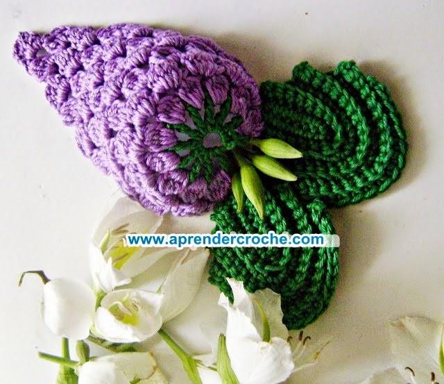cacho de uvas folhas frutas legumes aprender croche edinir-croche dvd loja curso de croche