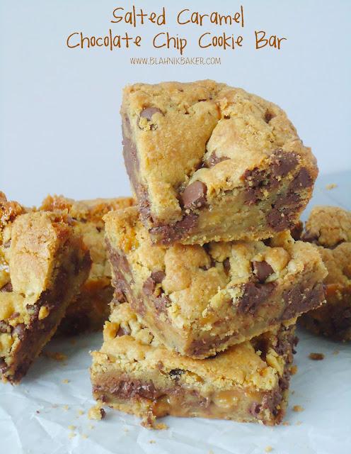 Salted Caramel Chocolate Chip Cookie Bars via Blahnik Baker