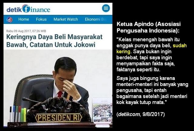 Keringnya Daya Beli Masyarakat Bawah, Catatan APINDO Untuk Jokowi