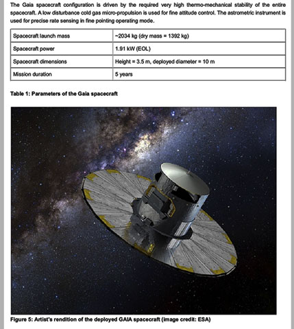 Gaia spacecraft and some specifications (Source: ESA)