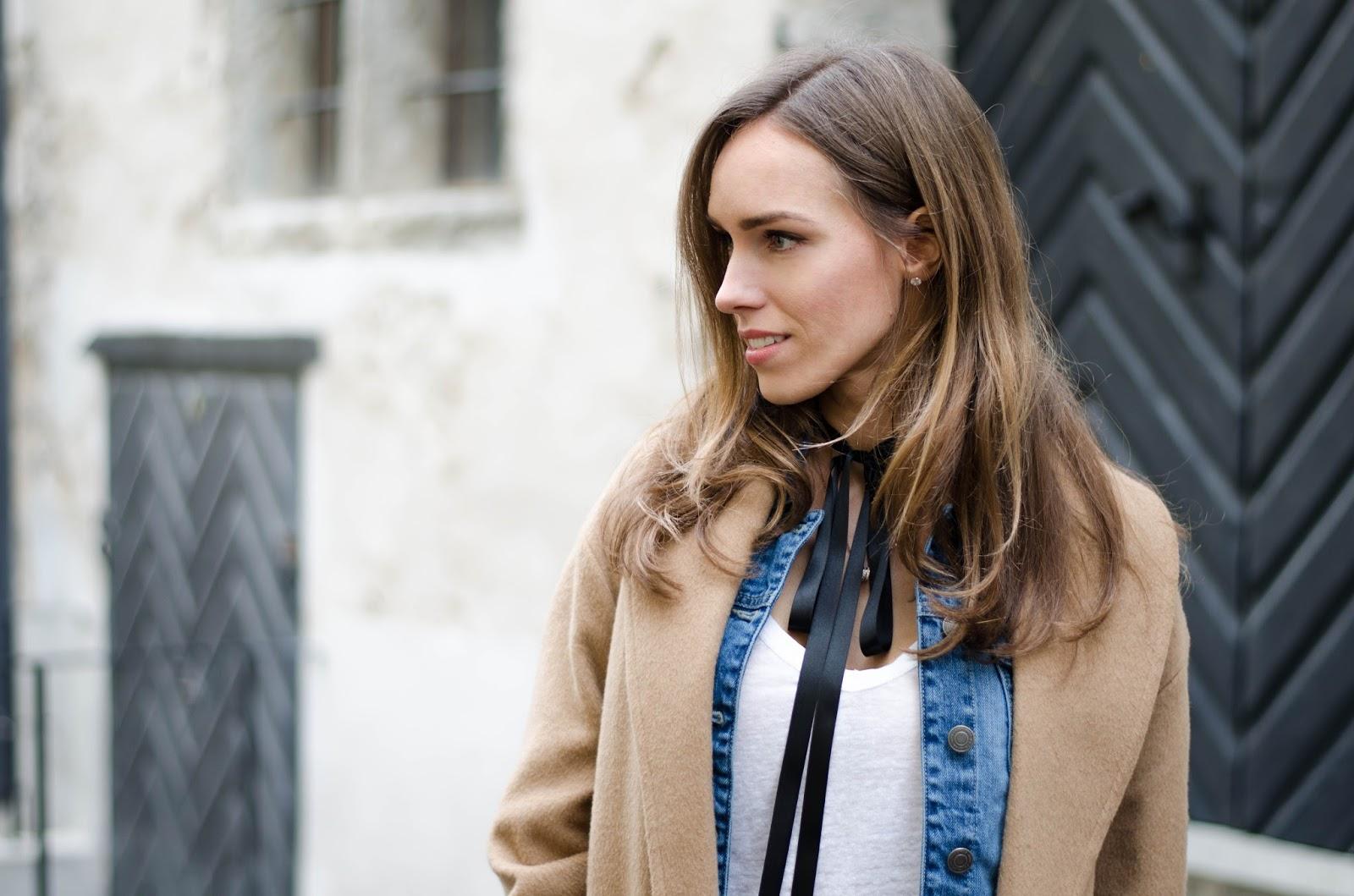 kristjaana mere black ribbon bow neck tie minimalist outfit