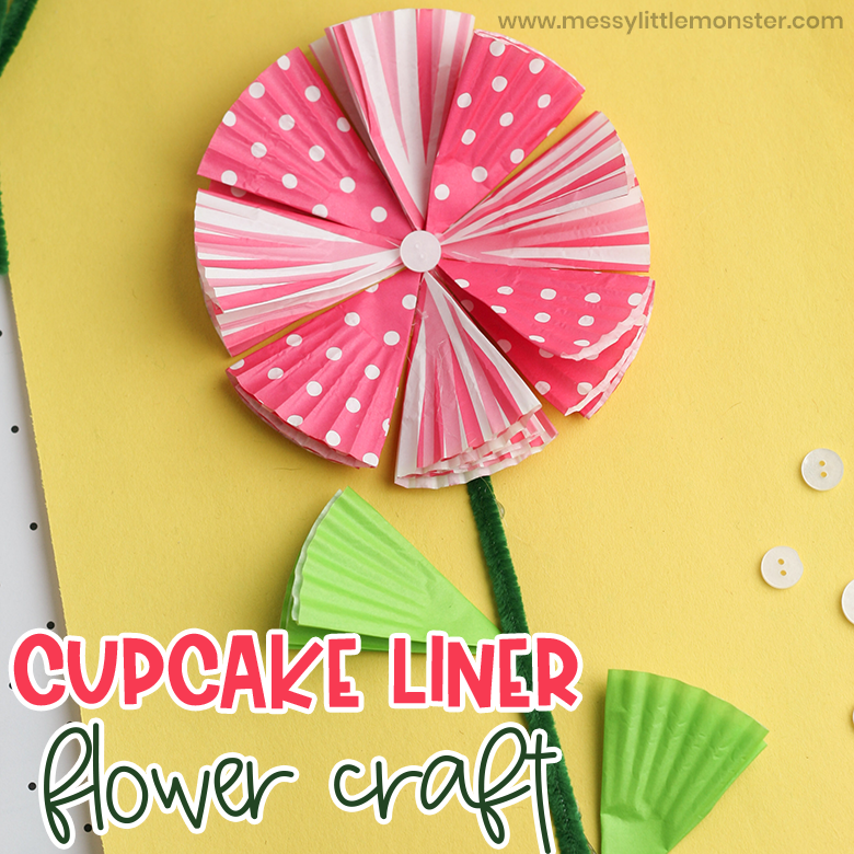 Cupcake liner flower craft for preschoolers