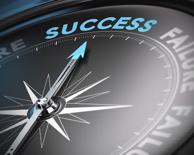 image of a compass pointing to the word success