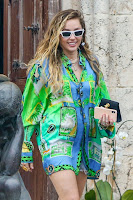 Miley Cyrus in Green Shirt Dress