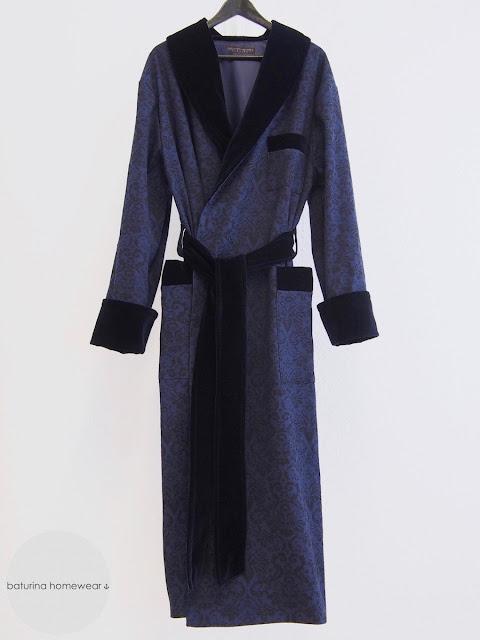 dark navy blue mens paisley dressing gown long robe victorian style dandy luxury smoking jacket warm heavy velvet shawl collar