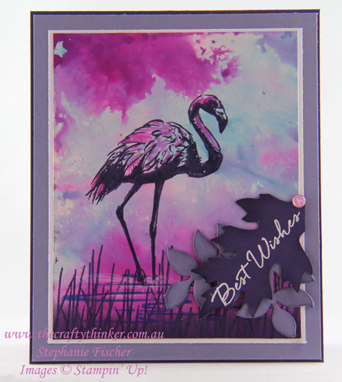 #crazycraftersprojecthighlights, Fabulous Flamingo, Watercolour Background, Glossy Cardstock, #thecraftythinker, Stampin' Up Australia Demonstrator, Stephanie Fischer, Sydney NSW