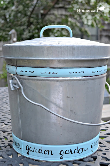 garden garbage can for soil with stripes