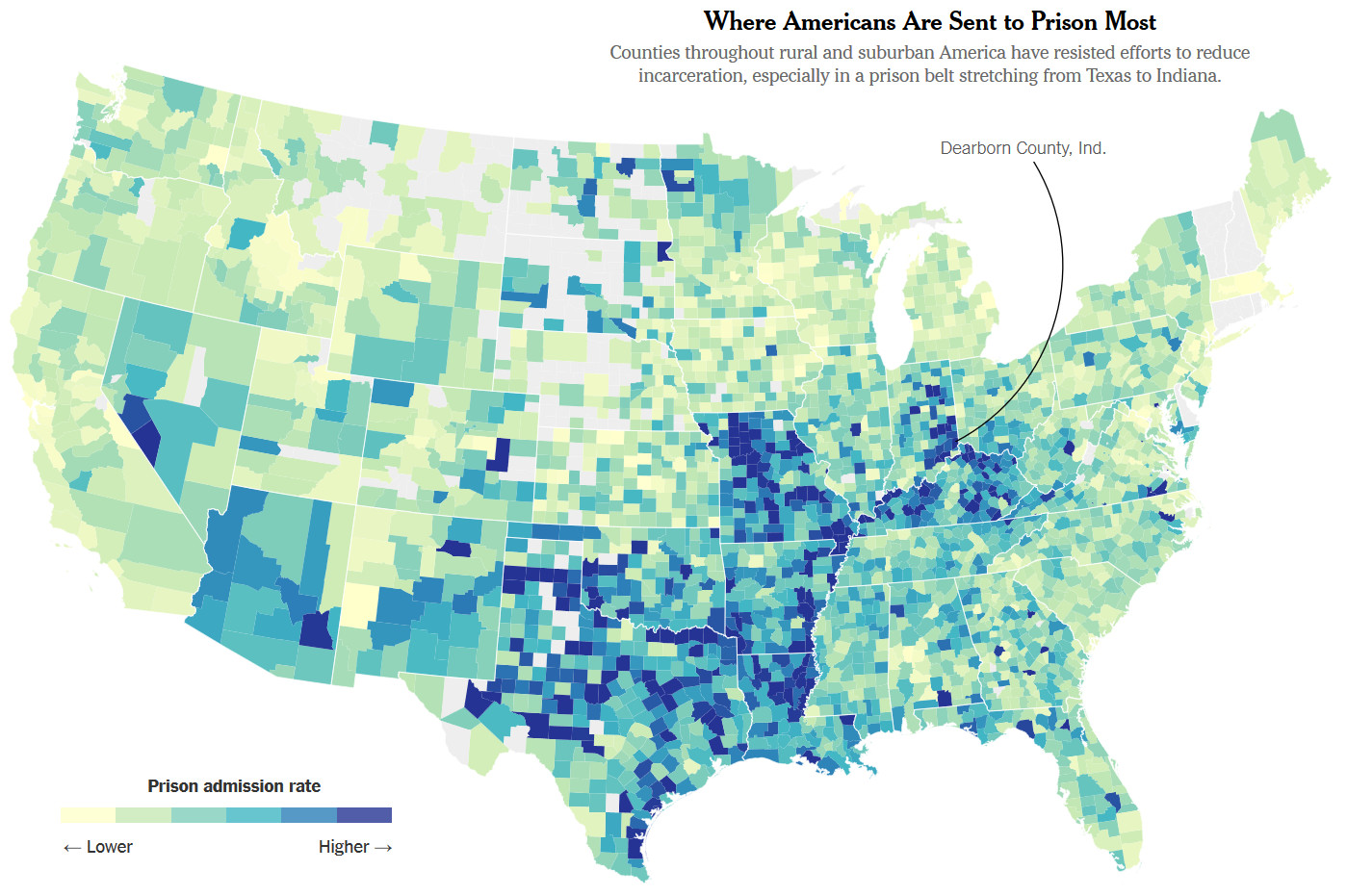 Where Americans are sent to prison most?