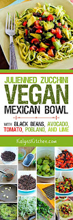 Julienned Zucchini Vegan Mexican Bowl with Black Beans, Avocado, Tomato, Poblano, and Lime found on KalynsKitchen.com