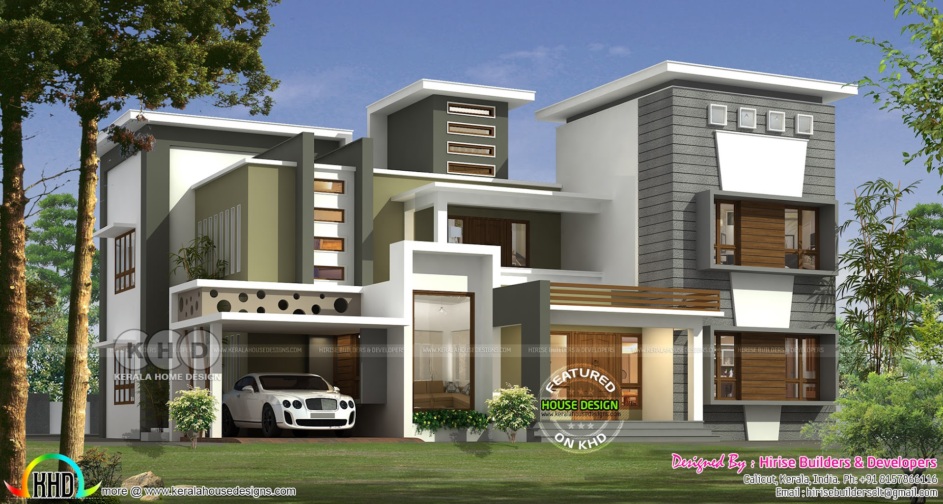 New modern contemporary style 5 bedroom house kerala for Modern house 48