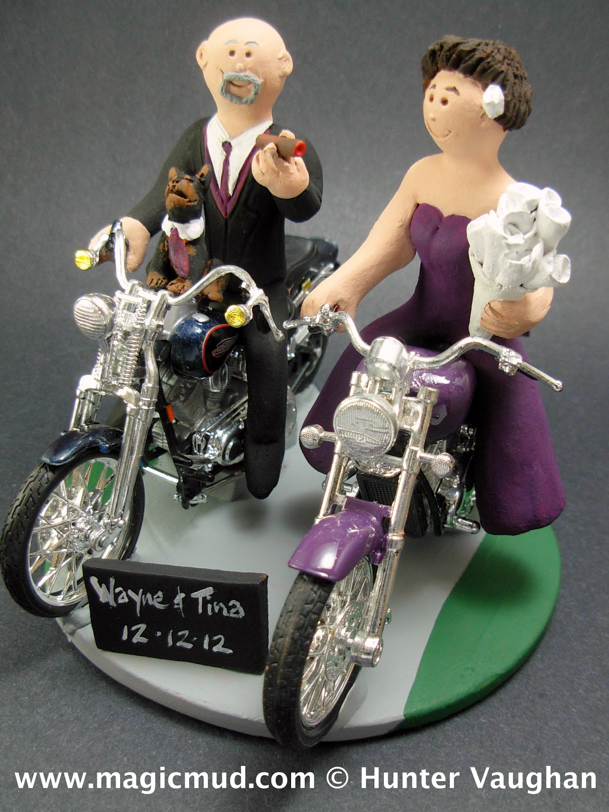 Custom Wedding Cake Toppers Motorcycle Riding Bride