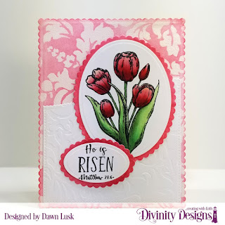 Divinity Designs Stamp Set: Glorious Easter, Mixed Media Stencils: Flourishes, Custom Dies: Scalloped Ovals, Scalloped Rectangles, Ovals, Pierced Rectangles, Leafy Edged Borders, Embossing Folder: Flourishes