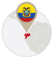 Ecuadorian flag and map