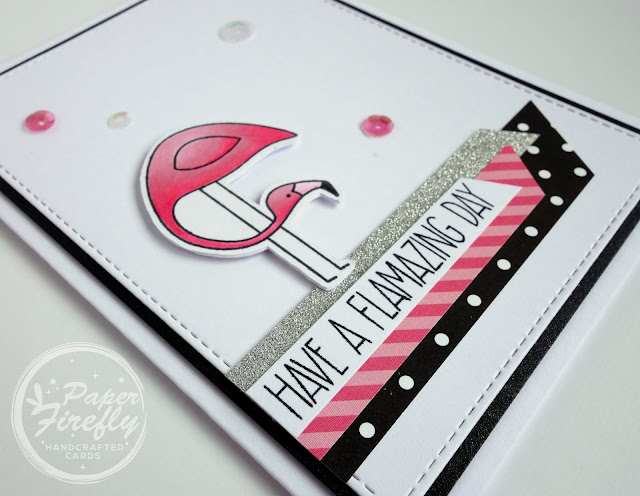 Funny handmade card with pink flamingo (image/sentiment from Let's Flamingle from My Favorite Things)