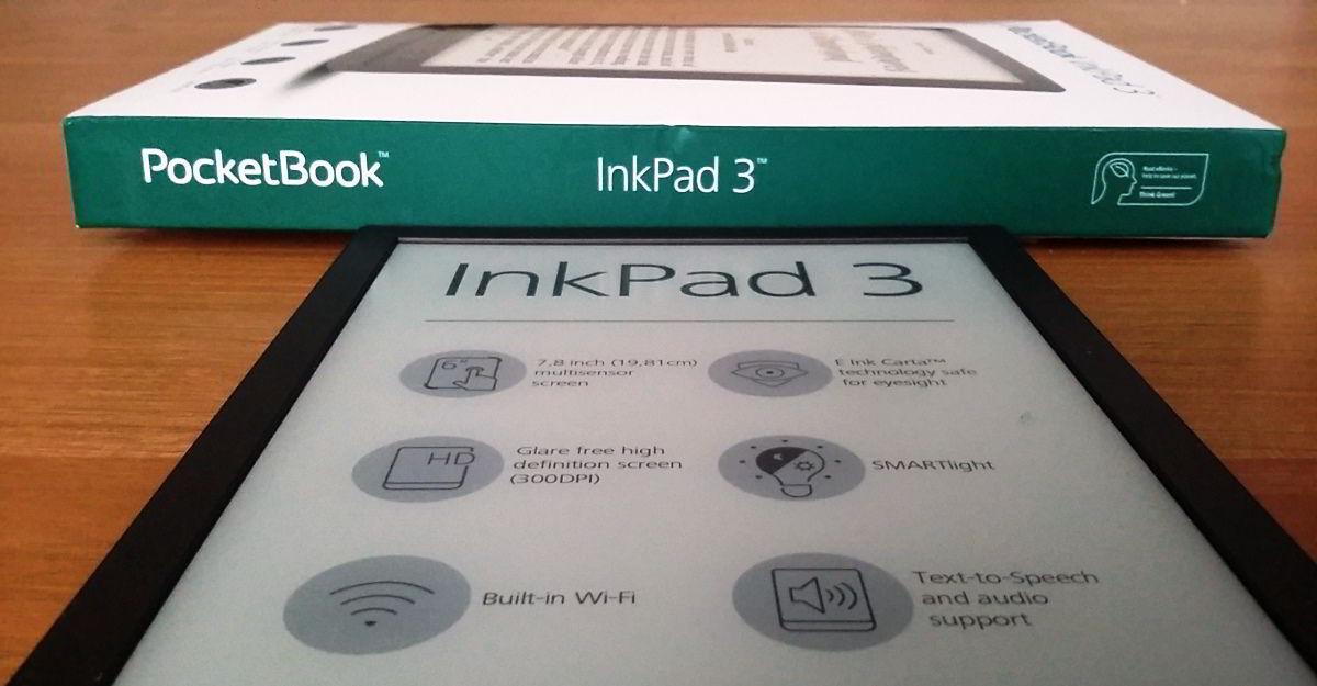czytnik PocketBook InkPad 3 i jego opakowanie