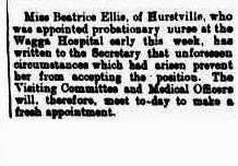 Extract from Wagga Wagga Express saying Beatrice Ellis is unable to accept the position.