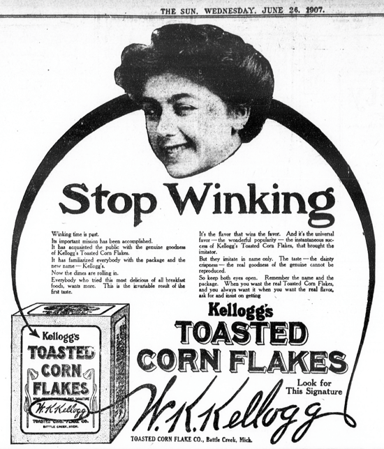 Kellogg's Toasted Corn Flakes, advertising 1907