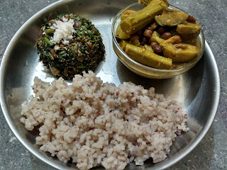 Red rice, Amaranth greens poriyal, Chickpeas Drumstick Brinjal curry