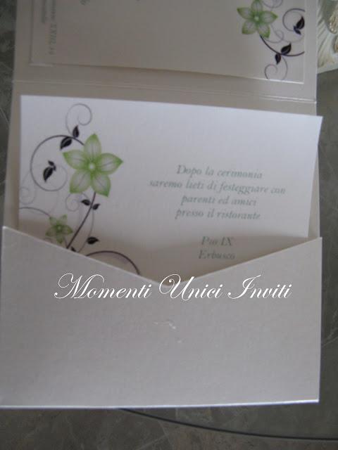 verde6 Partecipazione pocket mod. fiori verde salviaColore Verde Partecipazioni Pocket