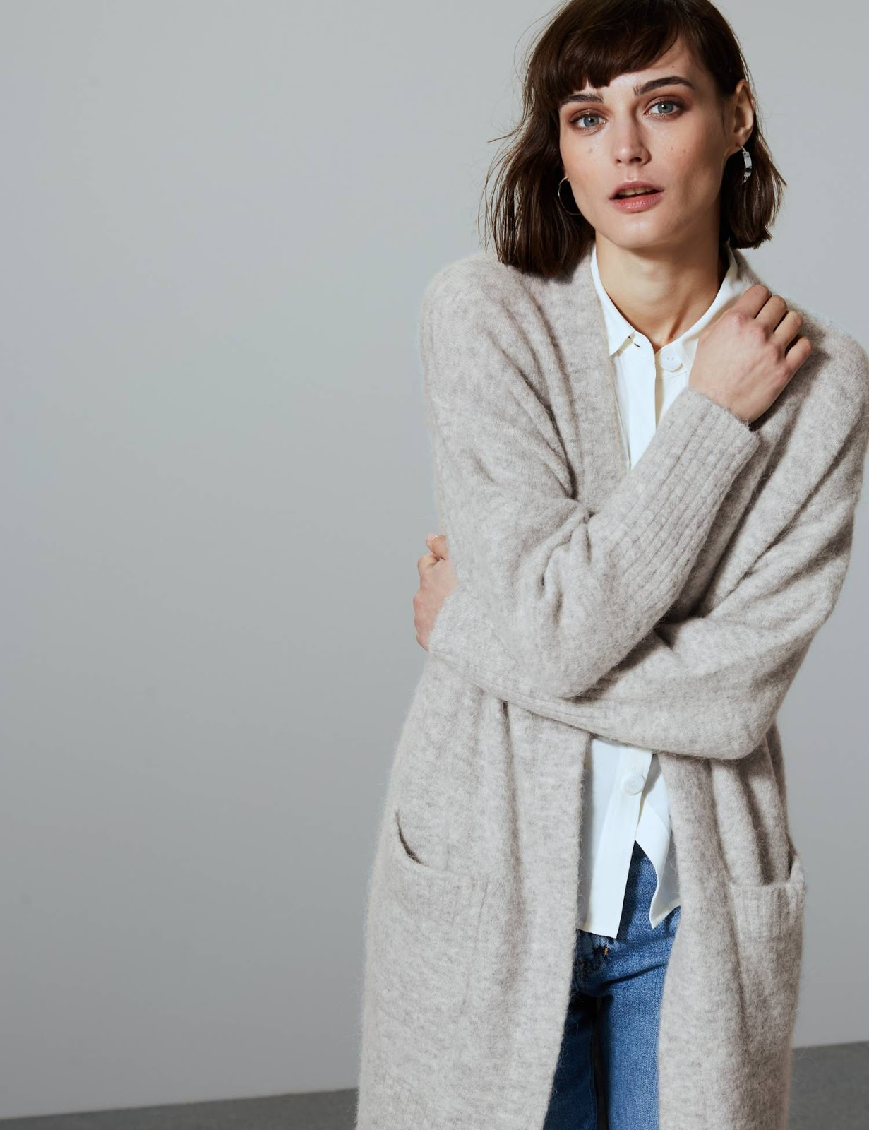 Marks & Spencer Wool Blend Textured Cardigan